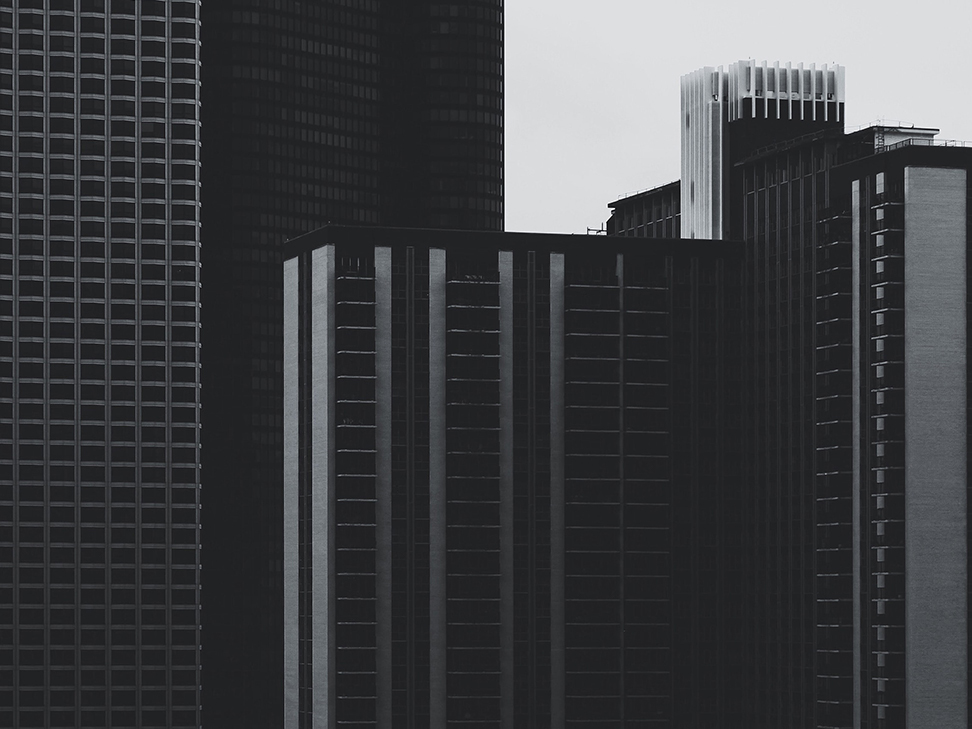 Group of buildings in black and white